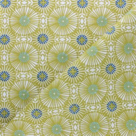 Cretonne cotton fabric - Blue/Green Bissau x 10cm