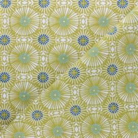 Tissu coton cretonne Bissau - vert x 10cm