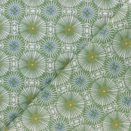 Tissu coton cretonne Bissau - vert/bleu x 10cm