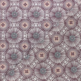 Cretonne cotton fabric - Plum purple  Bissau x 10cm