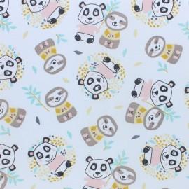 Cretonne cotton fabric - pink Niwoya Panda x 10cm