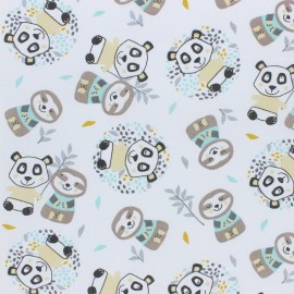 Tissu coton cretonne Woni - bleu x 10cm