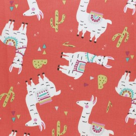 Cretonne cotton fabric - Coral Pichu the llama x 10cm
