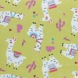 Cretonne cotton fabric - Lime green Pichu the llama x 10cm