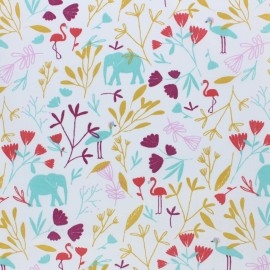 Tissu coton cretonne Jinjua - bleu x 10cm