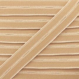 20 mm High Quality Elastic Buttonhole - Beige x 1m