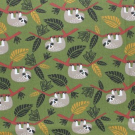 Cretonne cotton fabric - Green Issa the sloth x 10cm
