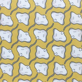 Tissu coton cretonne Raie - jaune x 10cm