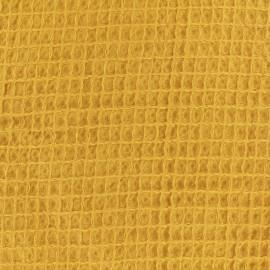Tissu Oeko-Tex piqué de coton nid d'abeille - dijon x 10cm