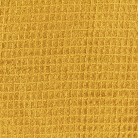 Waffle stitch Oeko-Tex cotton fabric - mustard x 10cm