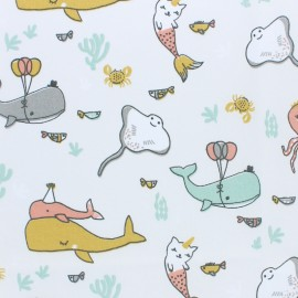 Tissu coton cretonne O'Bulles - blanc x 10cm