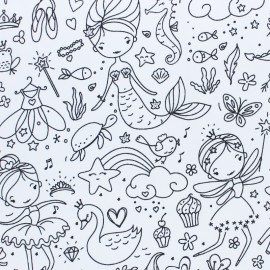 Coloring Cotton fabric- black/white Darling x 10cm