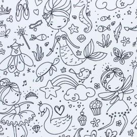 Tissu coton à colorier Darling - noir/blanc x 10cm