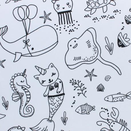 Tissu coton à colorier O'Bulles - noir/blanc x 10cm