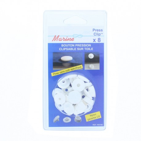 18 mm Outdoor Snap Button to Clip (8 Pack) - White