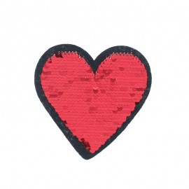 Reversible Sequin Sewing Patch - Red/Gold Lovely Heart
