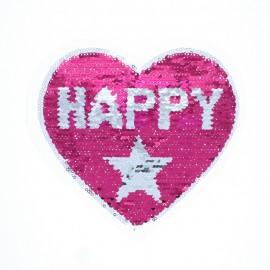 Écusson à Coudre Réversible Happy Girl - Fuchsia/Argent