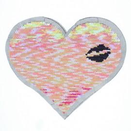 Écusson à Coudre Réversible Coeur Irisé - Rose/Argent