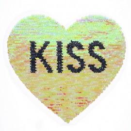 Écusson à Coudre Réversible Coeur Kiss - Corail/Argent