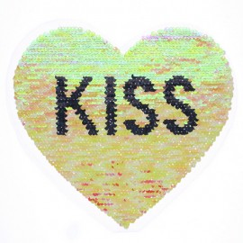Reversible Sequin Sewing Patch - Coral/Silver Kiss Heart