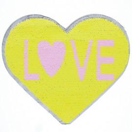♥ Écusson à Coudre Réversible Coeur Love - Jaune/Blanc ♥