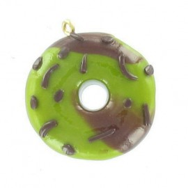 Breloque Fimo donuts marbré pistache