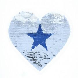 Écusson à Coudre Réversible Coeur Étoilé - Bleu/Argent