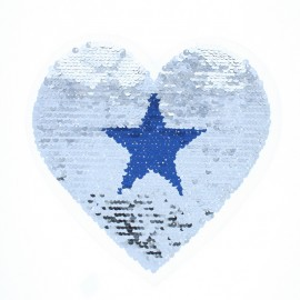 Reversible Sequin Sewing Patch - Blue/Silver Starred Heart