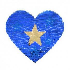 Écusson à Coudre Réversible Coeur Starry - Bleu/Argent