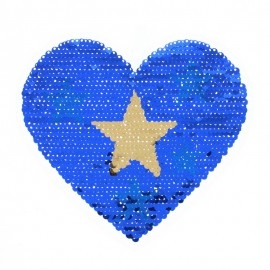 Reversible Sequin Sewing Patch - Blue/Silver Starry Heart