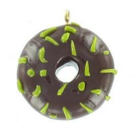 Fimo charm, donut - chocolate