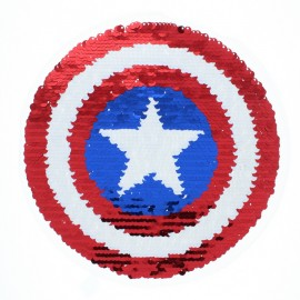 Reversible Sequin Sewing Patch - Captain's Shield