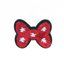 Reversible Sequin Sewing Patch - Red/Gold Bow Tie