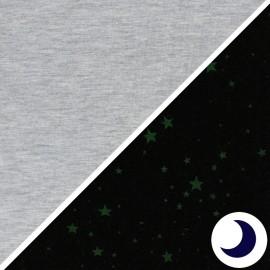 Tissu Jersey Phosphorescent étoile - gris chiné x 10cm