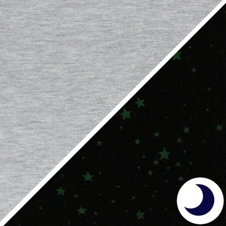 Tissu double gaze de coton MPM - taupe et petits coeurs x 10cm