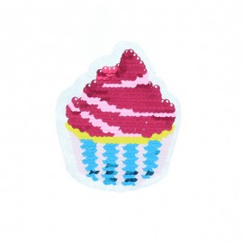 Reversible Sequin Sewing Patch - Yummy Cupcake