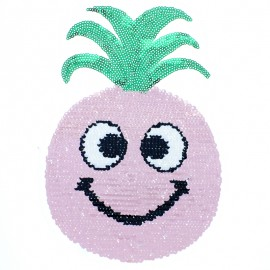 Reversible Sequin Sewing Patch - Metallic Pink Pineapple