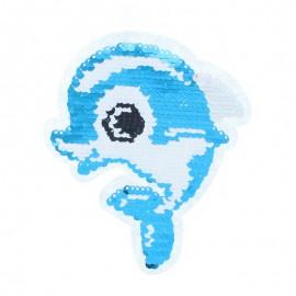 Écusson à Coudre Réversible Dauphin - Bleu/Framboise