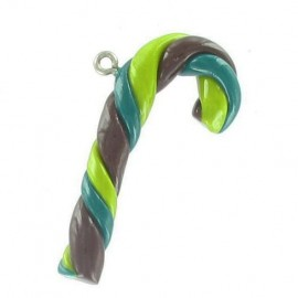 Fimo charm, candy cane - green