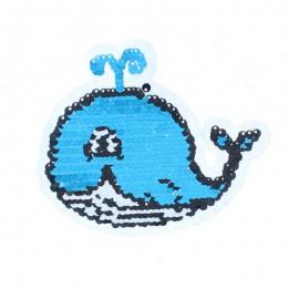 Écusson à Coudre Réversible Baleine - Bleu/Framboise