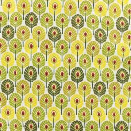 Tissu coton crétonne enduit Plume de paon - Absinthe x 10cm