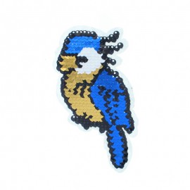 Reversible Sequin Sewing Patch - Blue/Red Parrot