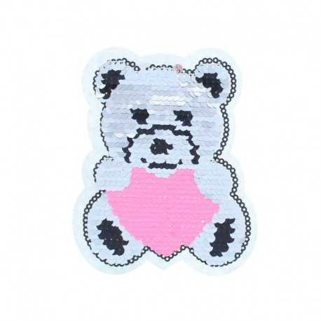 Reversible Sequin Sewing Patch - Silver/Pink Teddy Bear