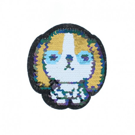 Reversible Sequin Sewing Patch - Red/Gold Puppy