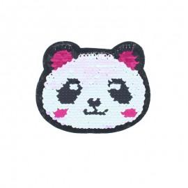 Reversible Sequin Sewing Patch - Kawaii Panda