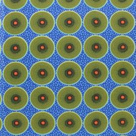 Tissu coton cretonne Wonga - bleu x 10cm