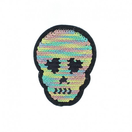 Reversible Sequin Sewing Patch - Glitter/Silver Skull