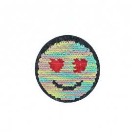 Reversible Sequin Sewing Patch - Glitter/Silver Emoji