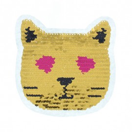 Reversible Sequin Sewing Patch - Gold/Silver Cat In Love