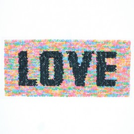 Reversible Sequin Sewing Patch - Multi/Pink Love XL